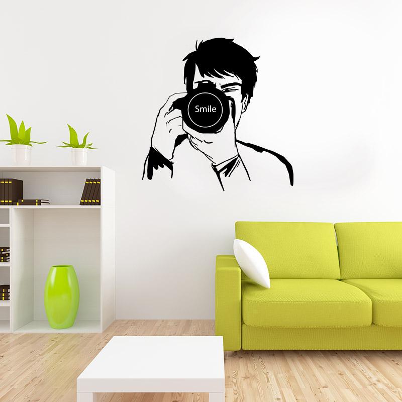 stickers muraux originaux pour la maison smile et photographe. Black Bedroom Furniture Sets. Home Design Ideas