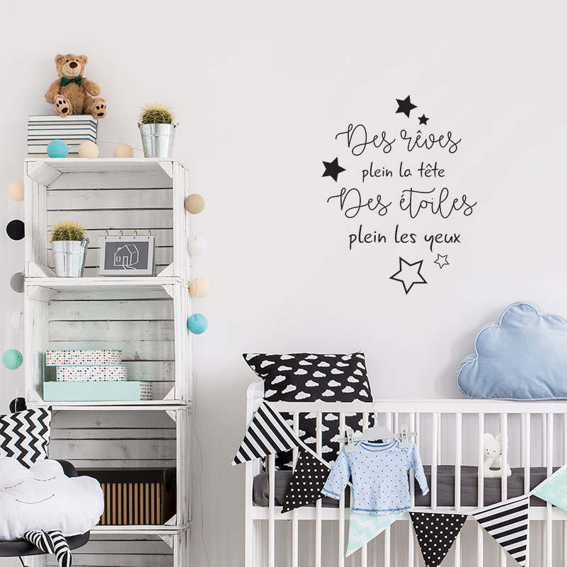 sticker pharses pour chambre enfant avec des toiles d cor c bo. Black Bedroom Furniture Sets. Home Design Ideas