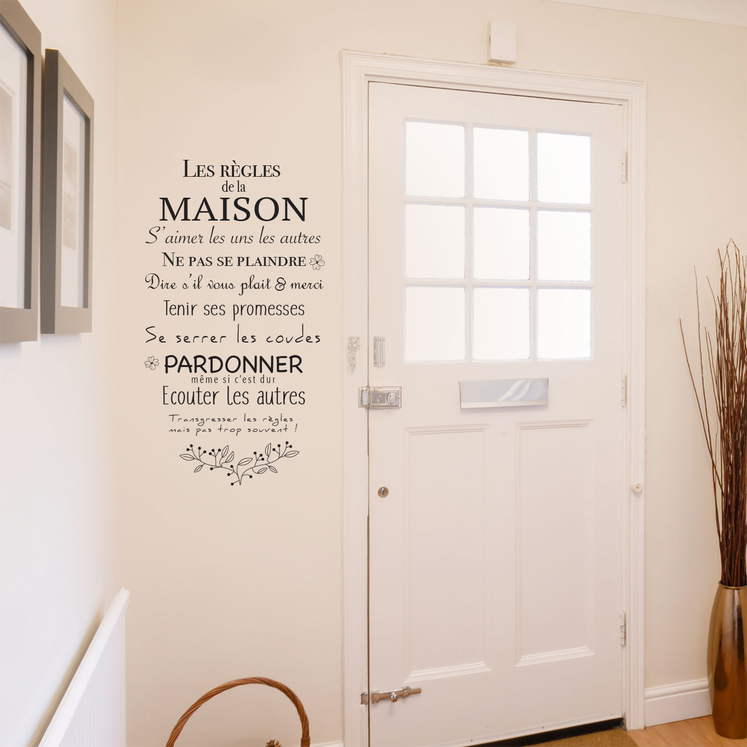 sticker sur les r gles de la maison et de la famille pour murs. Black Bedroom Furniture Sets. Home Design Ideas