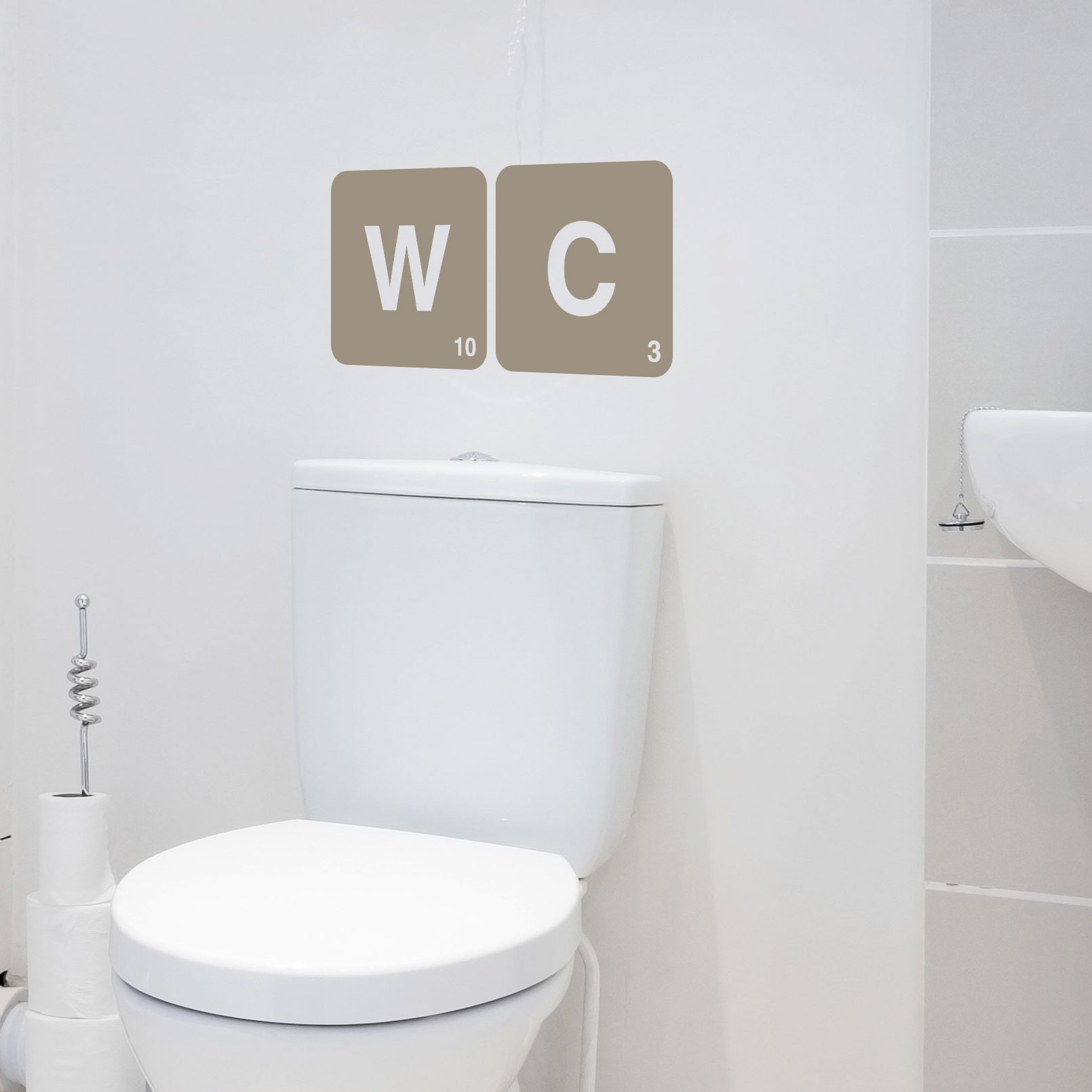 stickers lettres wc autocollant original et design de wc d cor c bo. Black Bedroom Furniture Sets. Home Design Ideas