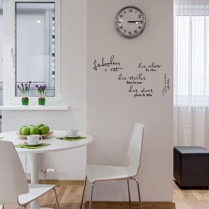 stickers textes sur le bonheur avec typo style criture la main. Black Bedroom Furniture Sets. Home Design Ideas