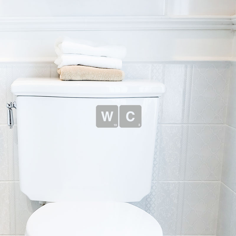 Sticker adhesif lettre WC