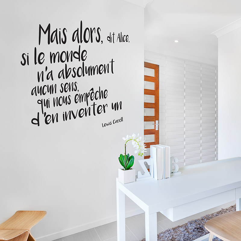 stickers de textes citation alice aux pays des merveilles de lewis caroll. Black Bedroom Furniture Sets. Home Design Ideas