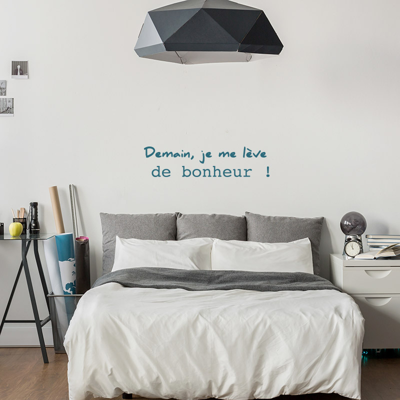 stickers textes sur le bonheur pour chambre adultes et ado. Black Bedroom Furniture Sets. Home Design Ideas